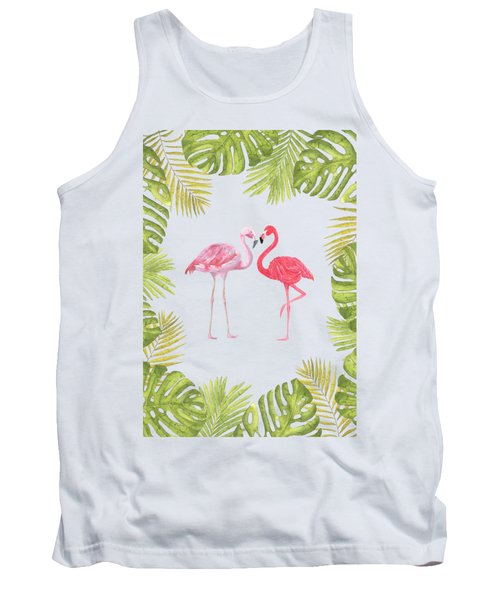Magical Tropicana Love Flamingos And Leaves Tank Top