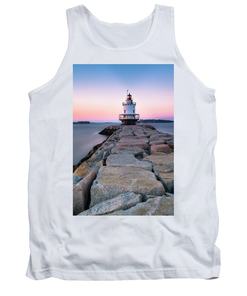 Maine Coastal Sunset Over The Spring Breakwater Lighthouse Tank Top