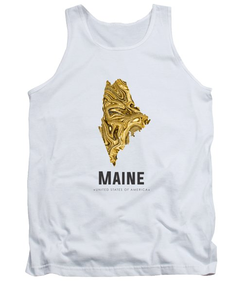 Maine Map Art Abstract In Golden Brown Tank Top