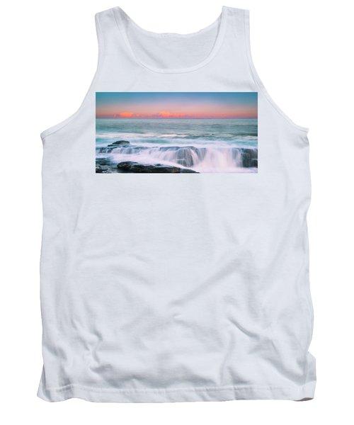 Maine Rocky Coastal Sunset Panorama Tank Top by Ranjay Mitra
