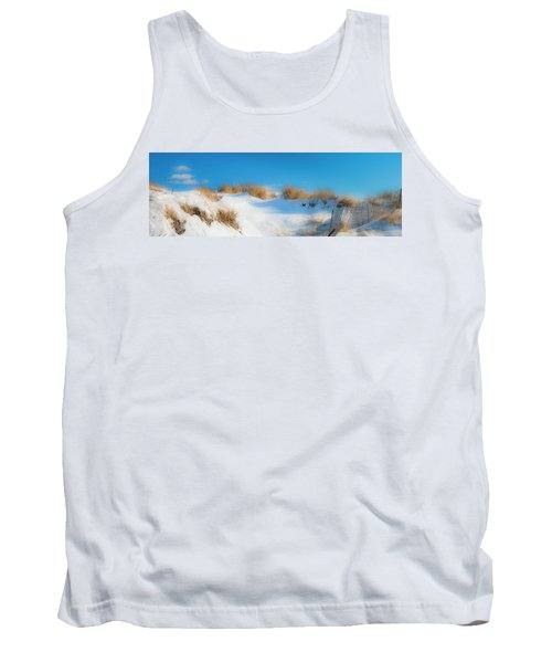 Maine Snow Dunes On Coast In Winter Panorama Tank Top by Ranjay Mitra