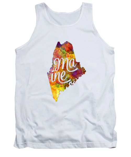 Maine Us State In Watercolor Text Cut Out Tank Top