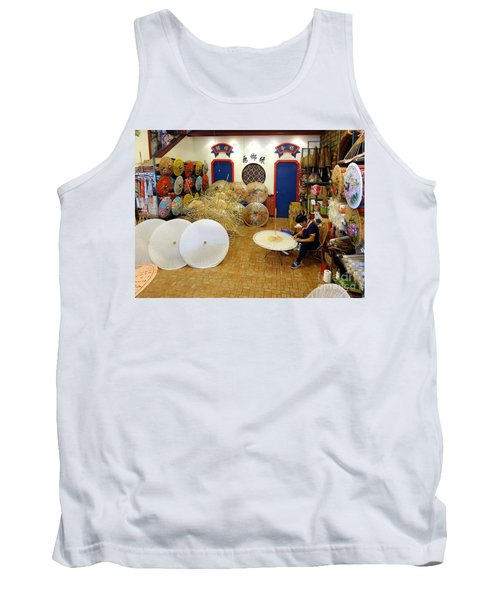 Tank Top featuring the photograph Making Chinese Paper Umbrellas by Yali Shi