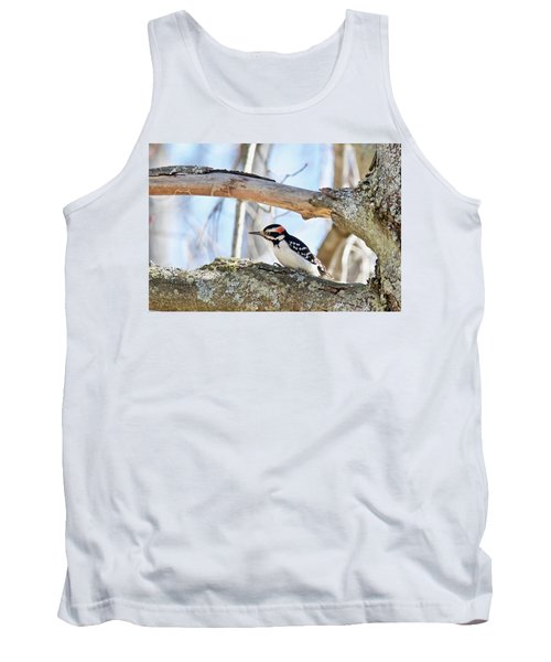 Tank Top featuring the photograph Male Downey Woodpecker 1112 by Michael Peychich