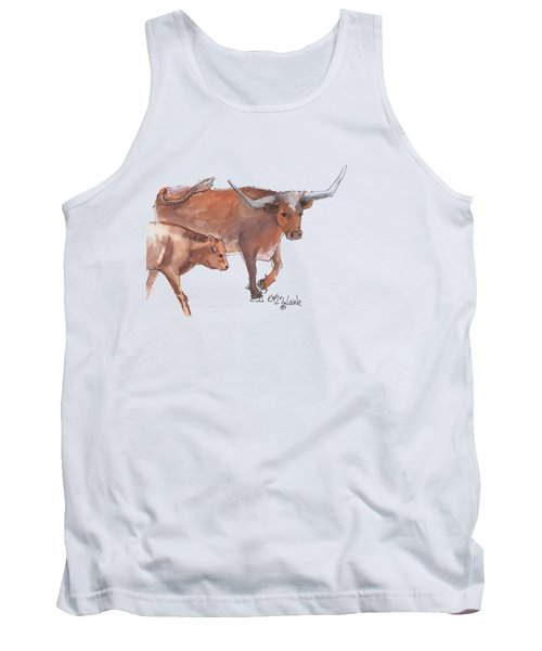 Mama And Baby Longhorn On The Run Tank Top by Kathleen McElwaine
