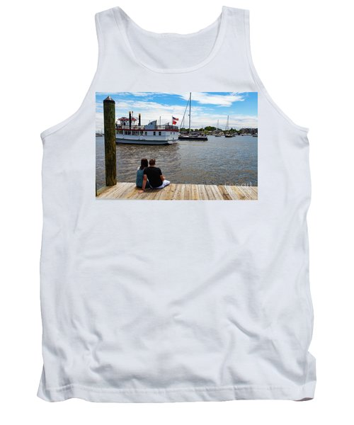Man And Woman Sitting On The Dock Tank Top