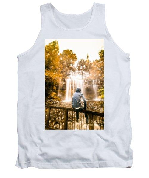 Man Looking At Waterfall Tank Top