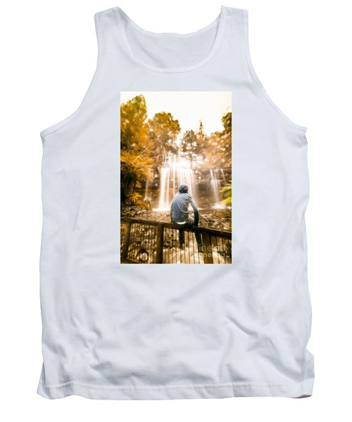 Tank Top featuring the photograph Man Looking At Waterfall by Jorgo Photography - Wall Art Gallery
