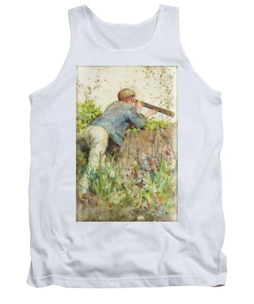 Tank Top featuring the painting Man Looking Through A Telescope by Henry Scott Tuke
