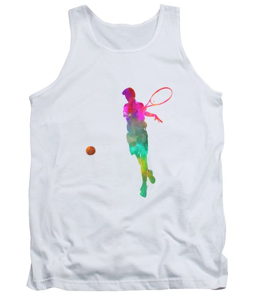 Man Tennis Player 01 In Watercolor Tank Top by Pablo Romero