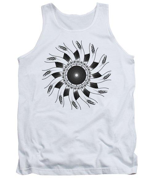 Tank Top featuring the digital art Mandala Black And White by Linda Lees
