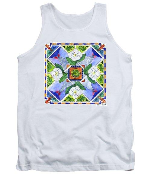 Mandala IIi - White Hibiscus Tank Top