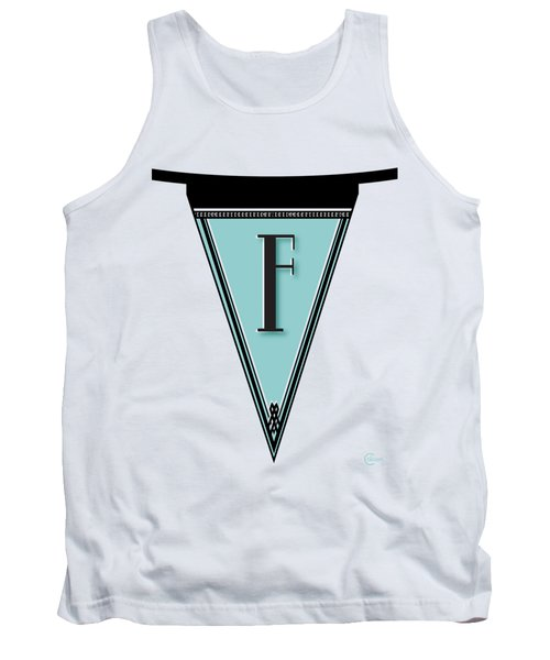 Pennant Deco Blues Banner Initial Letter F Tank Top