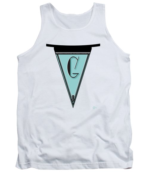 Pennant Deco Blues Banner Initial Letter G Tank Top by Cecely Bloom
