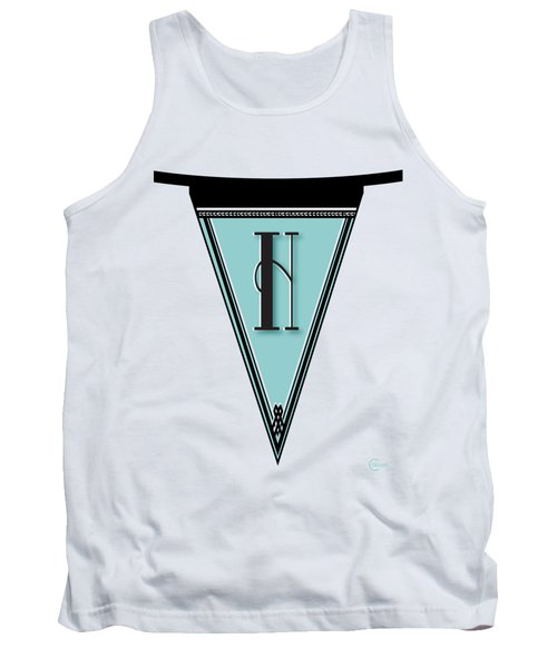Pennant Deco Blues Banner Initial Letter H Tank Top