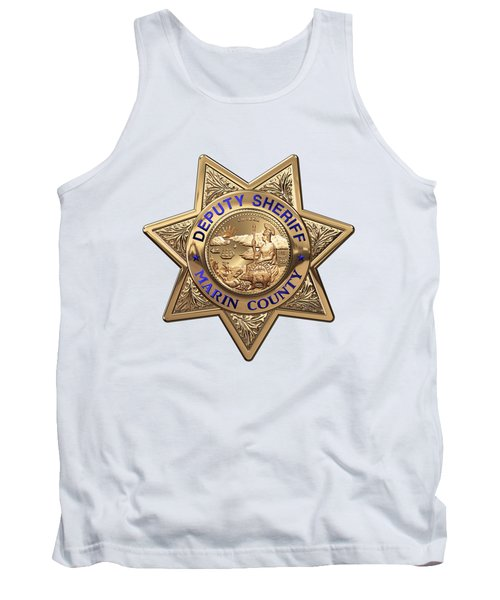 Tank Top featuring the digital art Marin County Sheriff Department - Deputy Sheriff Badge Over White Leather by Serge Averbukh