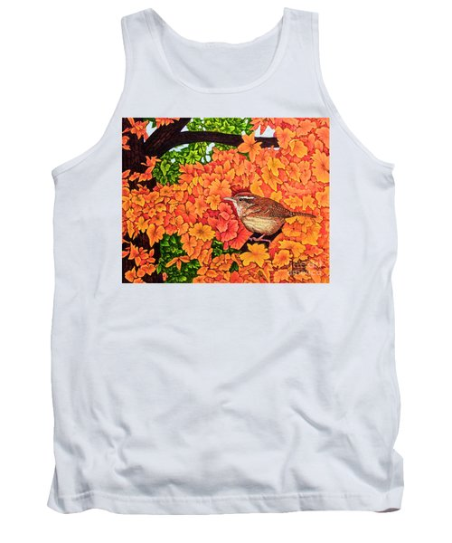Tank Top featuring the painting Marsh Wren by Michael Frank