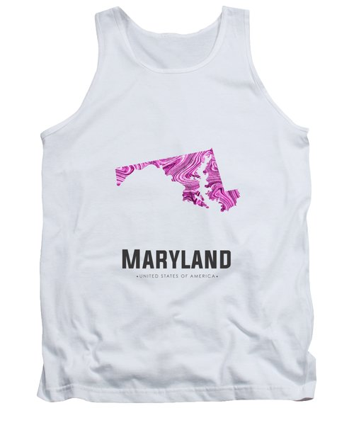 Maryland Map Art Abstract In Purple Tank Top