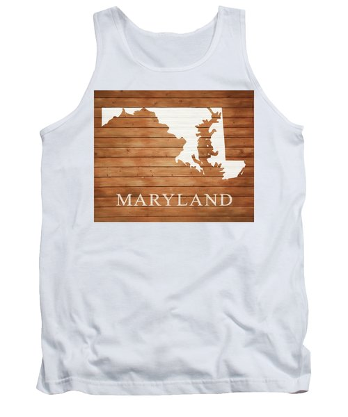 Maryland Rustic Map On Wood Tank Top