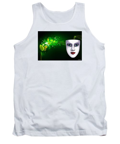 Tank Top featuring the photograph Mask Blue Eyes On Green Vines by Gary Crockett