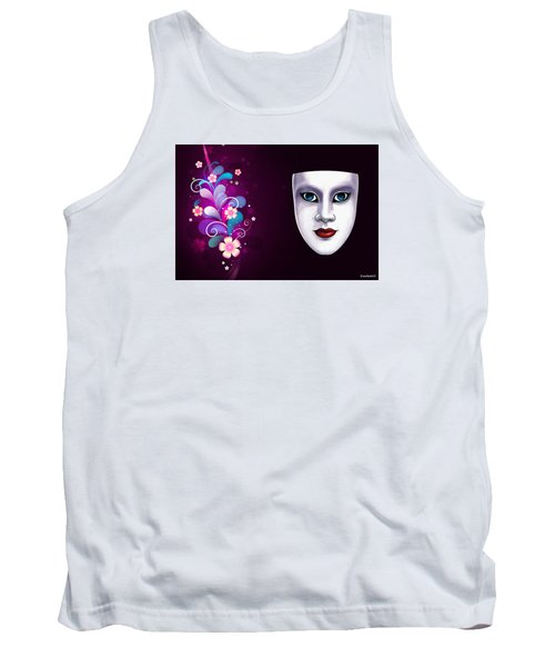 Mask With Blue Eyes Floral Design Tank Top