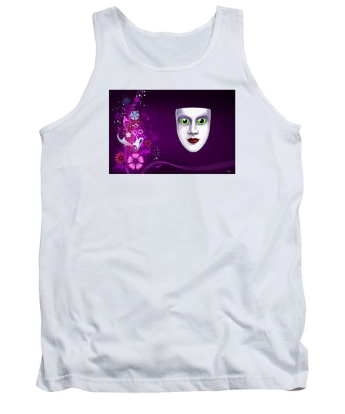 Tank Top featuring the photograph Mask With Green Eyes On Pink Floral Background by Gary Crockett