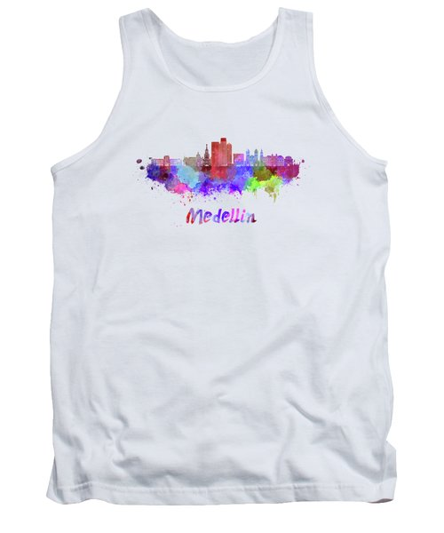 Medellin Skyline In Watercolor Tank Top