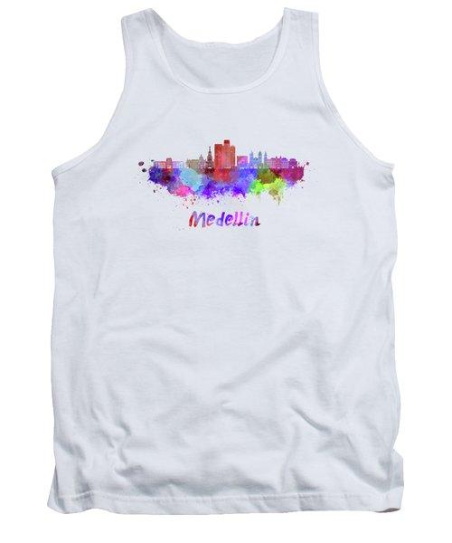 Medellin Skyline In Watercolor Tank Top