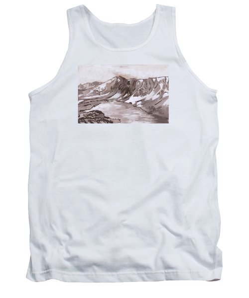 Tank Top featuring the painting Medicine Bow Peak Historical Vignette by Dawn Senior-Trask