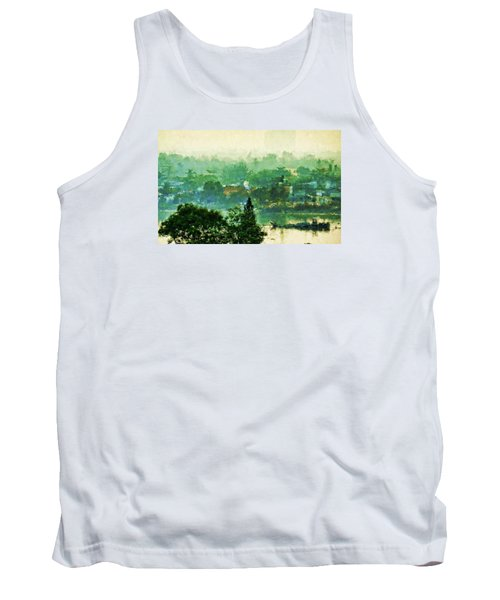 Tank Top featuring the digital art Mekong Morning by Cameron Wood