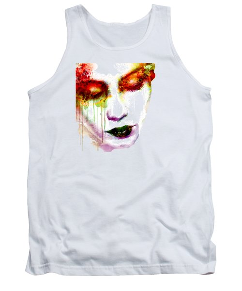 Melancholy In Watercolor Tank Top by Marian Voicu
