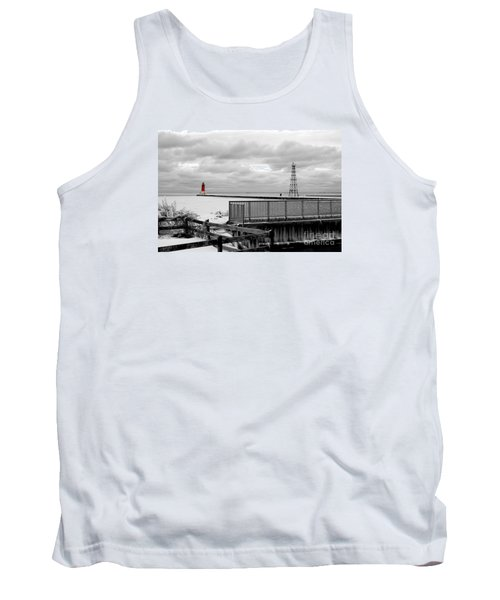 Tank Top featuring the photograph Menominee North Pier Lighthouse On Ice by Mark J Seefeldt
