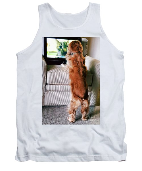 Tank Top featuring the photograph Meow Woof by Polly Peacock