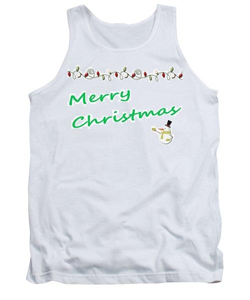 Merry Christmas Little Snow Man On White 2 Tank Top