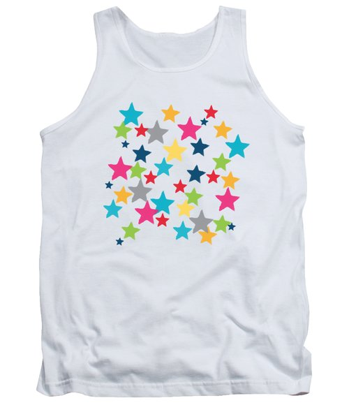 Tank Top featuring the painting Messy Stars- Shirt by Linda Woods