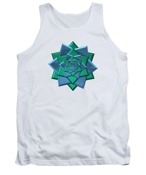 Metallic Blue And Green 3-d Look Gift Bow Tank Top