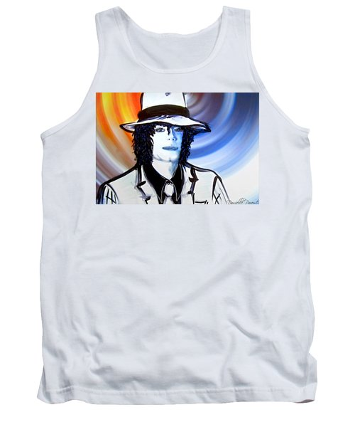Michael Jackson White Fedora Alcohol Inks Tank Top by Danielle  Parent