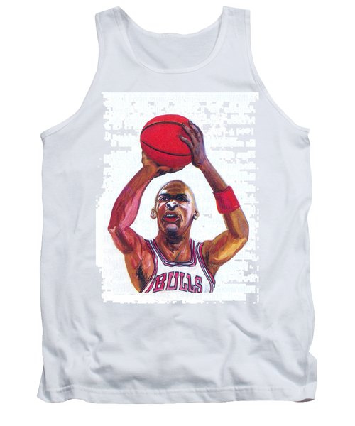 Tank Top featuring the painting Michael Jordan by Emmanuel Baliyanga