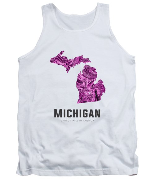 Michigan Map Art Abstract In Purple Tank Top