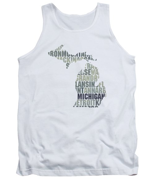 Michigan State Outline Word Map Tank Top by Design Turnpike