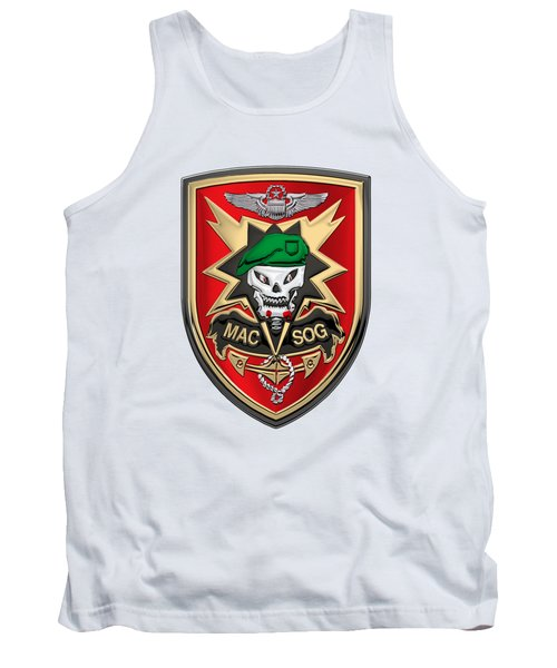 Military Assistance Command, Vietnam - Studies And Observations Group Patch Over White Leather Tank Top by Serge Averbukh