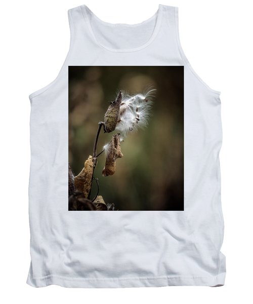 Milkweed Plant Dried And Blowing In The Wind Tank Top by John Brink