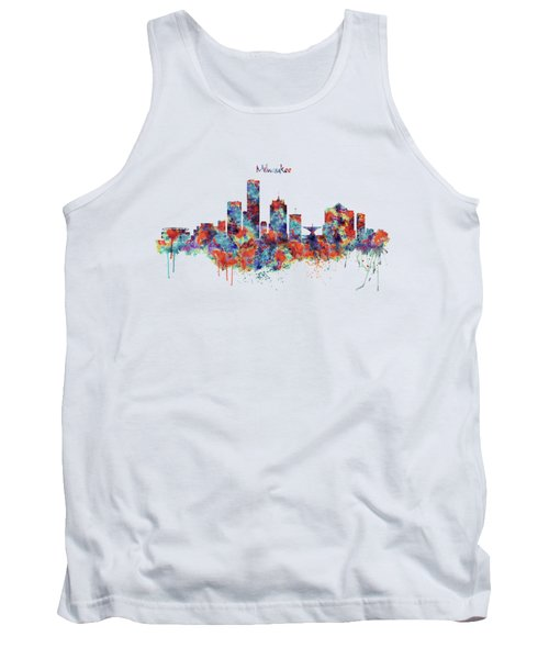 Milwaukee Watercolor Skyline Tank Top by Marian Voicu