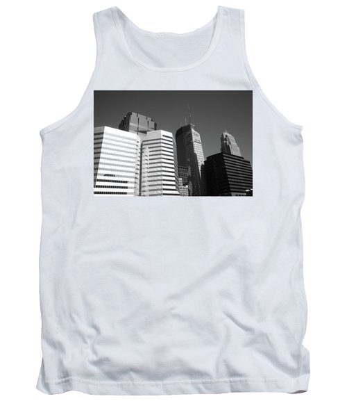 Tank Top featuring the photograph Minneapolis Skyscrapers Bw 5 by Frank Romeo