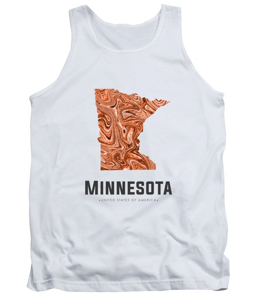 Minnesota Map Art Abstract In Brown Tank Top