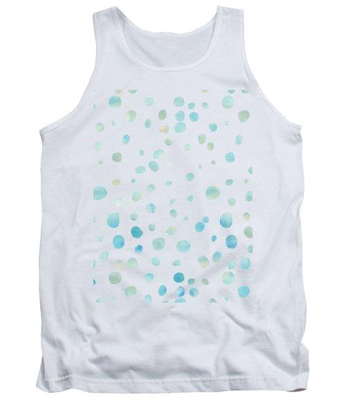 Mint Blue Watercolor Confetti Dots Tank Top by P S