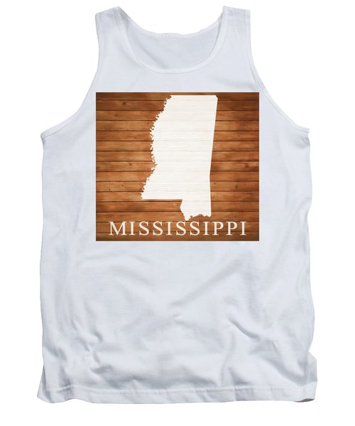 Mississippi Rustic Map On Wood Tank Top