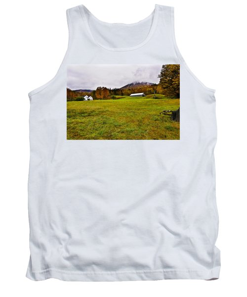 Misty Autumn At The Farm Tank Top