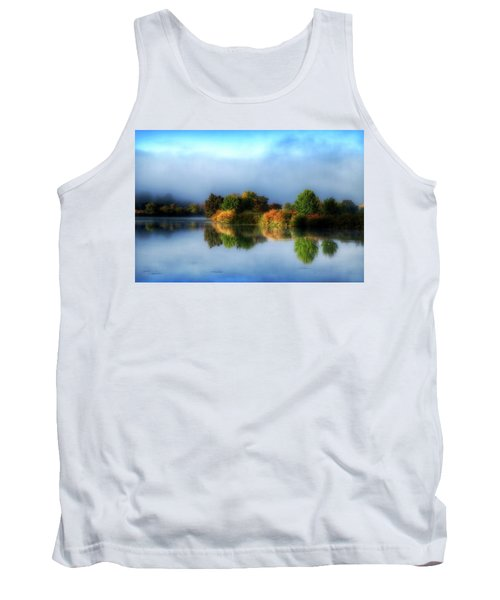 Misty Fall Colors On The River Tank Top