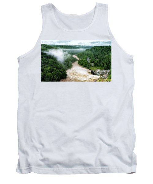 Misty Morning At Summersville Lake Dam Tank Top